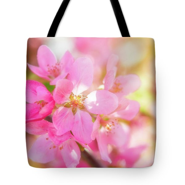 Tote Bag featuring the photograph Apple Blossoms Cheerful Glow by Leland D Howard