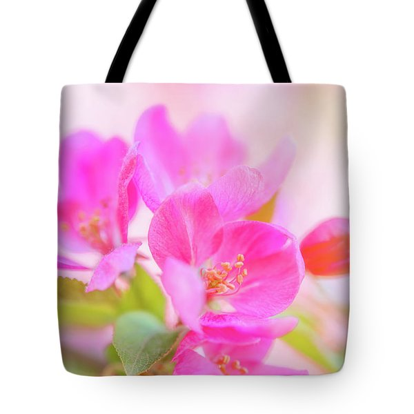 Tote Bag featuring the photograph Apple Blossoms Colorful Glow by Leland D Howard