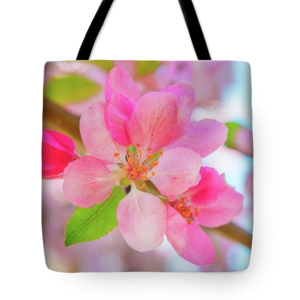 Tote Bag featuring the photograph Apple Blossoms Red And Blue by Leland D Howard