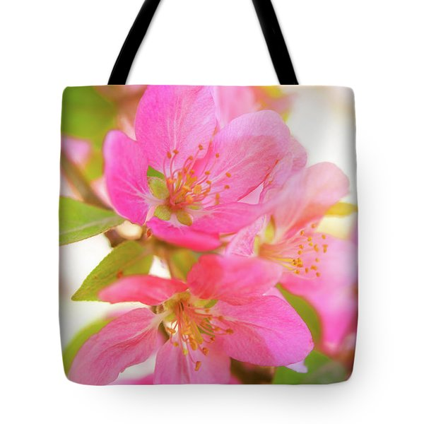 Tote Bag featuring the photograph Apple Blossoms Warm Glow by Leland D Howard