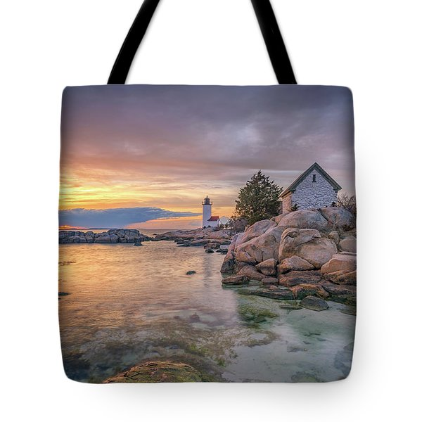 April Sunset At Annisquam Harbor Lighthouse Tote Bag