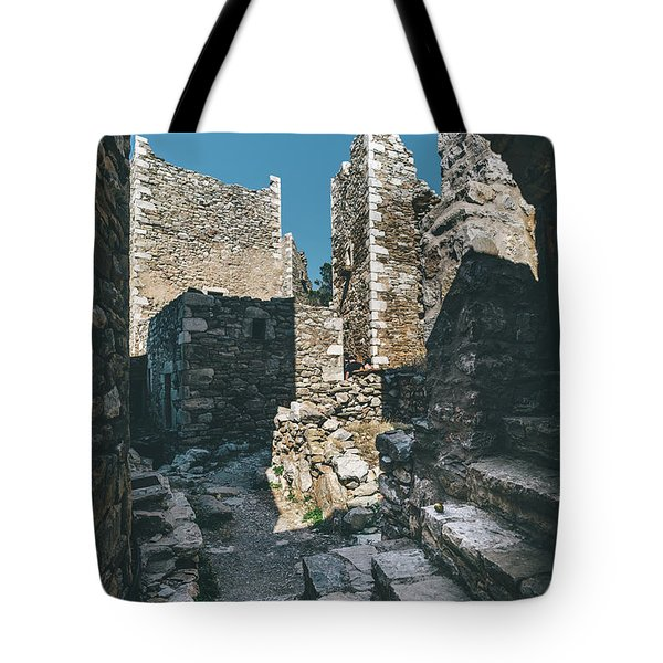 Tote Bag featuring the photograph Architecture Of Old Vathia Settlement by Milan Ljubisavljevic