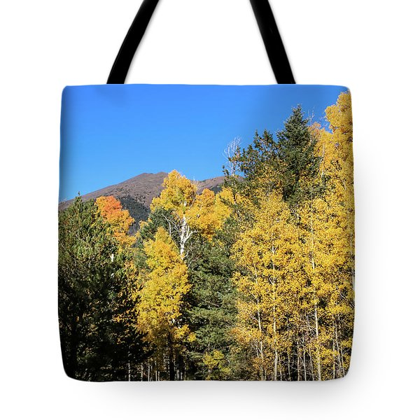 Arizona Aspens With Mountains Tote Bag