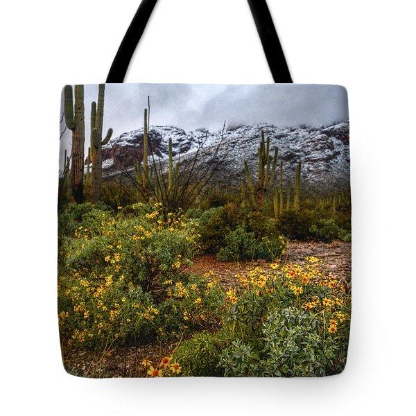 Arizona Flowers And Snow Tote Bag