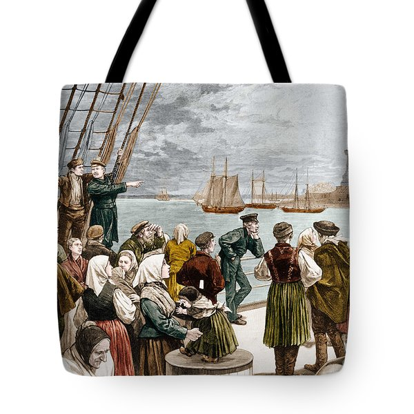 Arrival Of Emigrants In New York In 1887 In The Background, The Statue Of Liberty Tote Bag