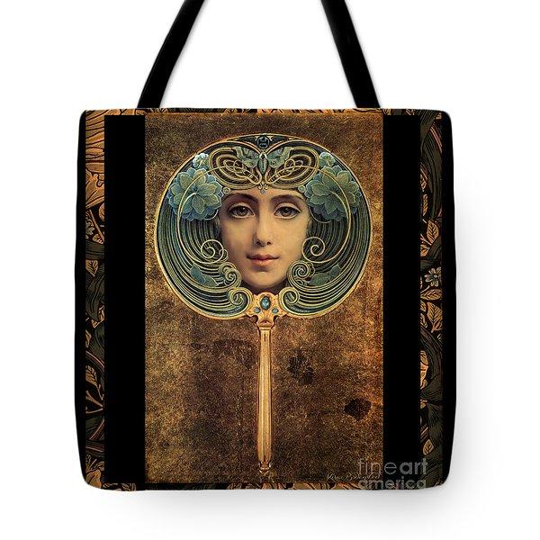 Art Nouveau Handheld Mirror Tote Bag
