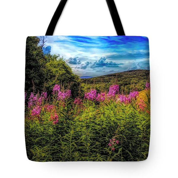 Art Photo Of Vermont Rolling Hills With Pink Flowers In The Fore Tote Bag
