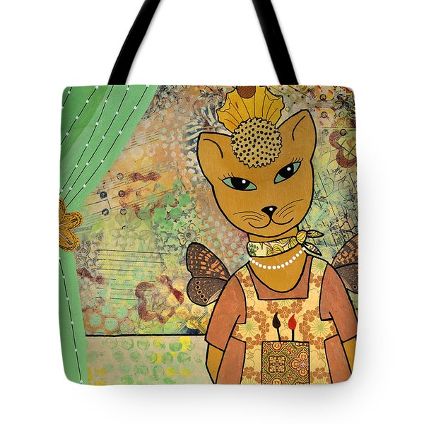 567056370c78 Tote Bag featuring the mixed media Artsy Cat by Cat Whipple