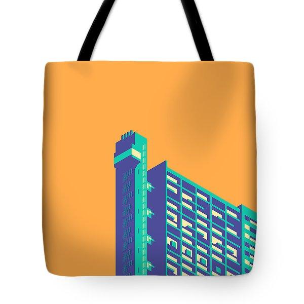 Trellick Tower London Brutalist Architecture - Plain Apricot Tote Bag