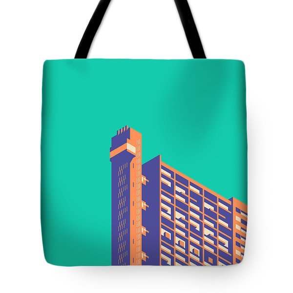 Trellick Tower London Brutalist Architecture - Plain Green Tote Bag
