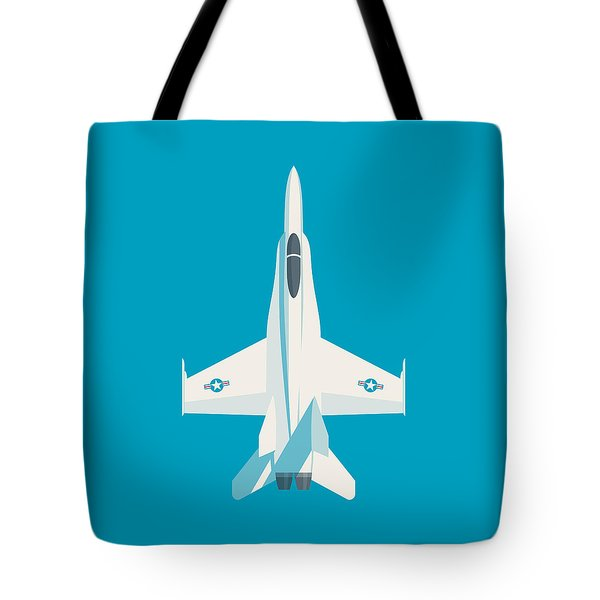 F-18 Hornet Jet Fighter Aircraft - Cyan Tote Bag