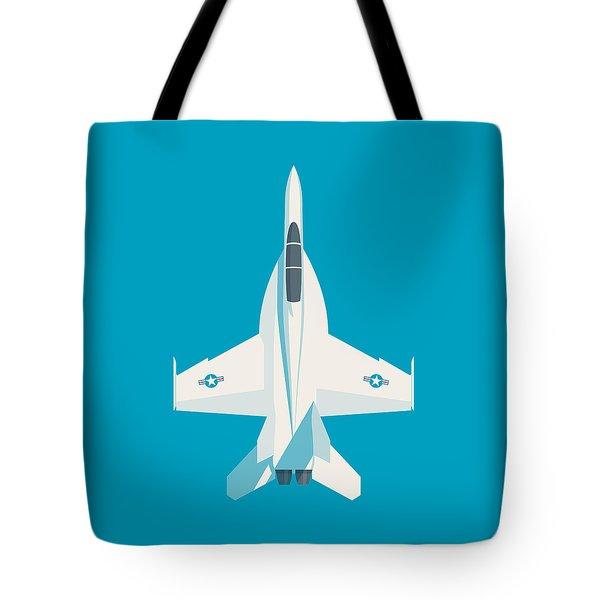 F-18 Super Hornet Jet Fighter Aircraft - Cyan Tote Bag