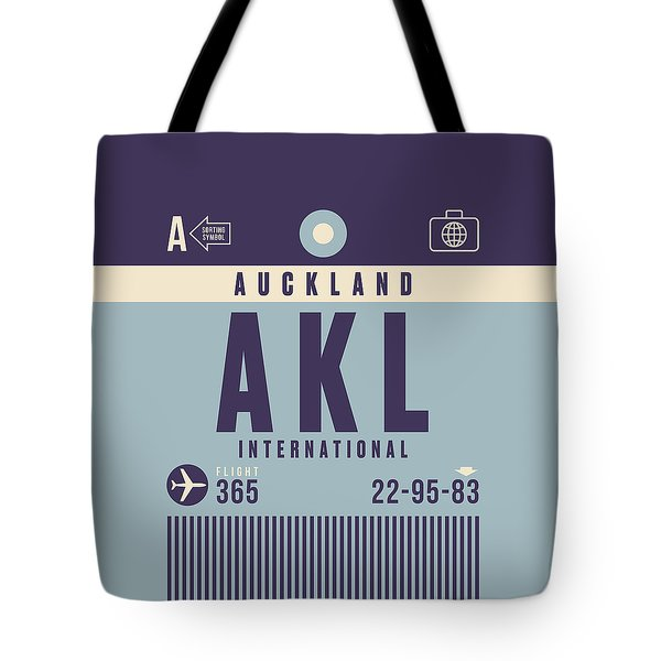 Retro Airline Luggage Tag - Akl Auckland Tote Bag