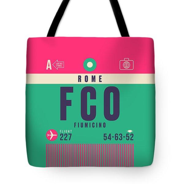 Retro Airline Luggage Tag - Fco Rome Fiumicino Tote Bag