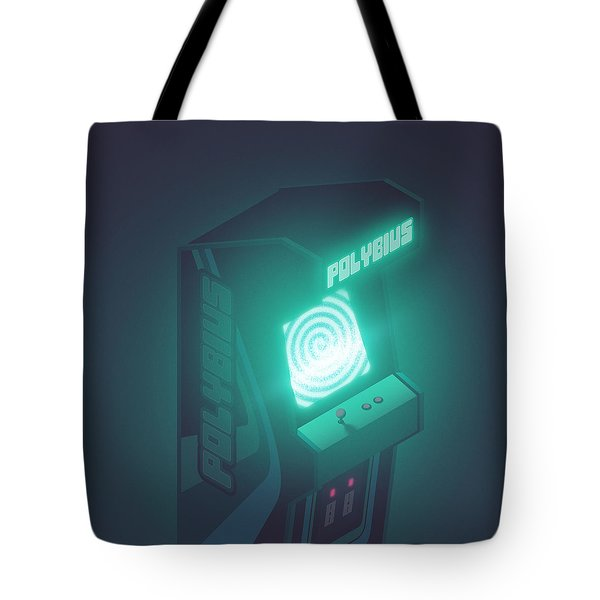 Polybius Arcade Game Machine Cabinet - Isometric Black Tote Bag