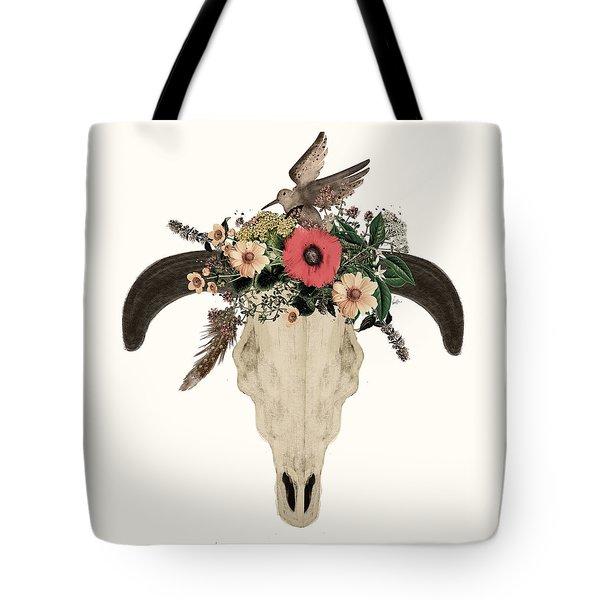Cow Skull Flowers Tote Bag
