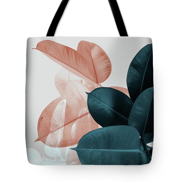 Blush And Blue Leaves Tote Bag