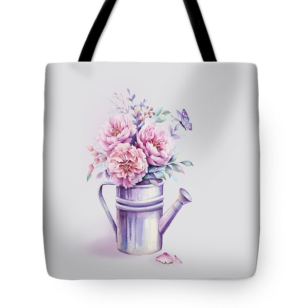 Tote Bag featuring the painting Pink Peonies Blooming Watercolour by Georgeta Blanaru