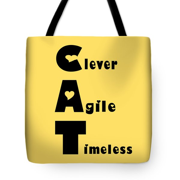 Cat With Black Words Tote Bag