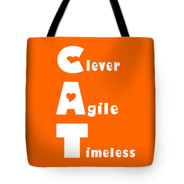 Cat With White Words Tote Bag