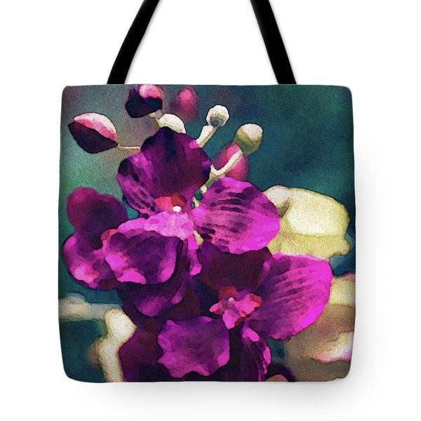 Tote Bag featuring the mixed media Fuchsia Pink Vanda Orchid by Susan Maxwell Schmidt