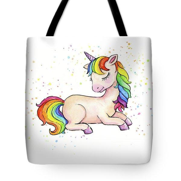 Sleeping Baby Rainbow Unicorn Tote Bag