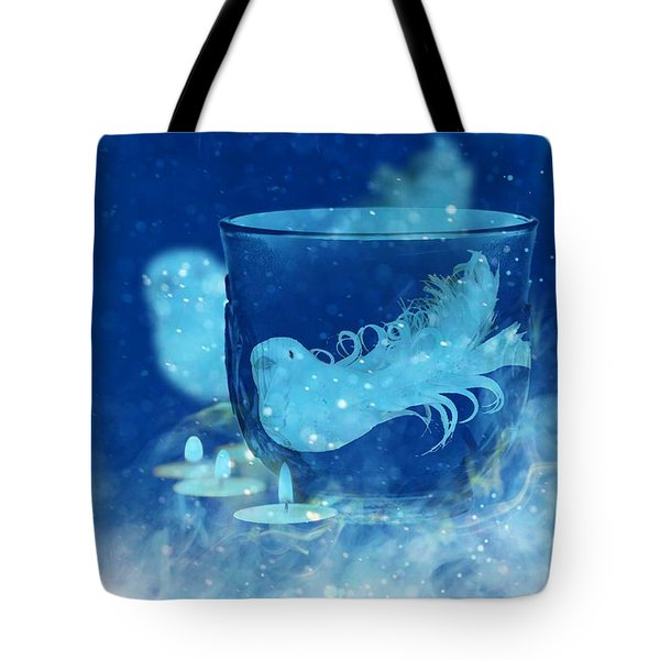 Tote Bag featuring the mixed media Season's Greetings Blue With Bird by Rachel Hannah