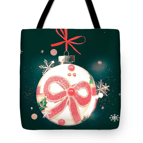 Tote Bag featuring the photograph Merry Christmas Ribbon Ornament by Rachel Hannah