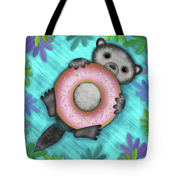 O Is For Otter With An O So Delicious Doughnut Tote Bag