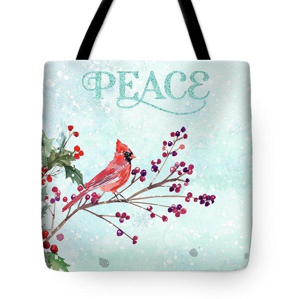 Woodland Holiday Peace Art Tote Bag