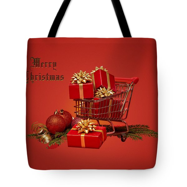 Christmas Shopping Trolley Tote Bag