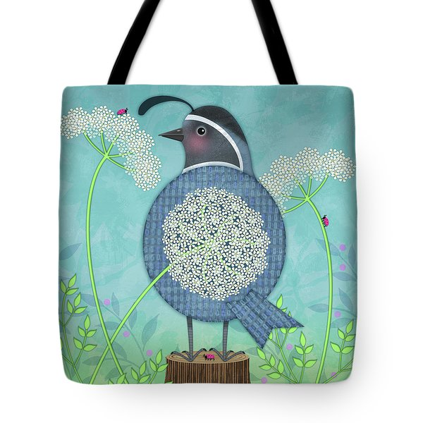 Q Is For Quail And Queen Anne's Lace Tote Bag