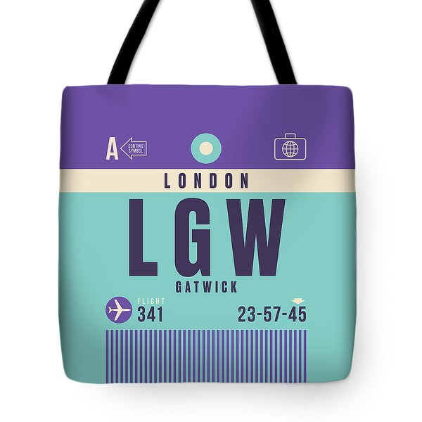 Retro Airline Luggage Tag - Lgw London Gatwick Airport Tote Bag