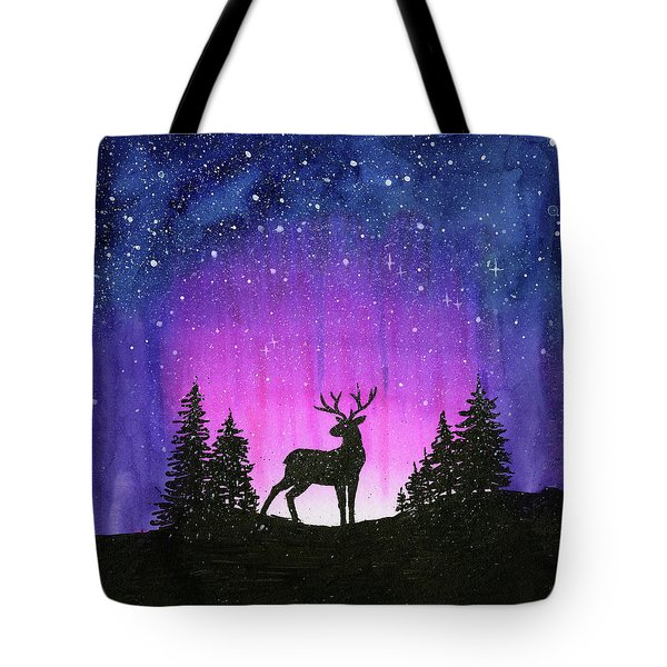 Winter Forest Galaxy Reindeer Tote Bag