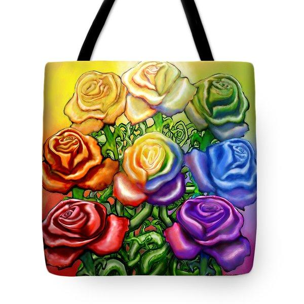 Rainbow Of Roses Tote Bag