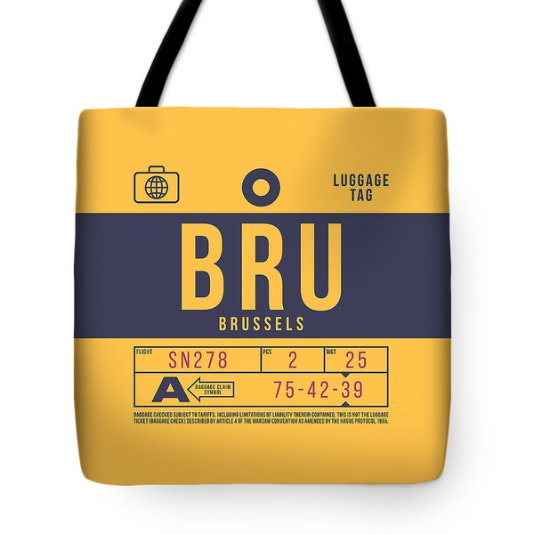 Retro Airline Luggage Tag 2.0 - Bru Brussels Belgium Tote Bag