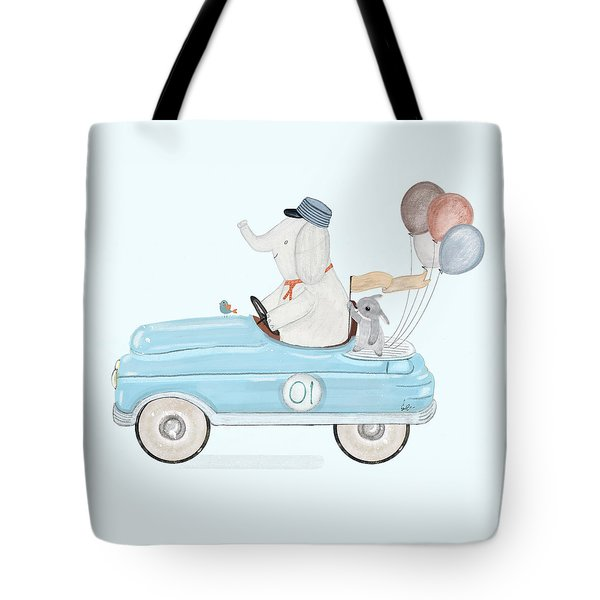 Little Racer Elephant Tote Bag