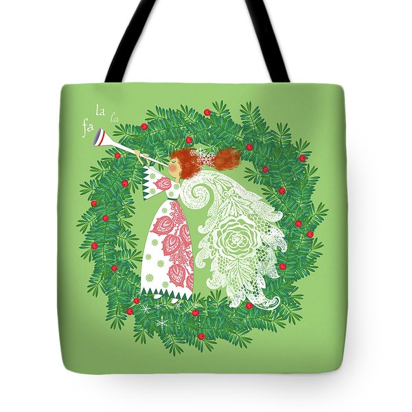 Angel With Christmas Wreath Tote Bag