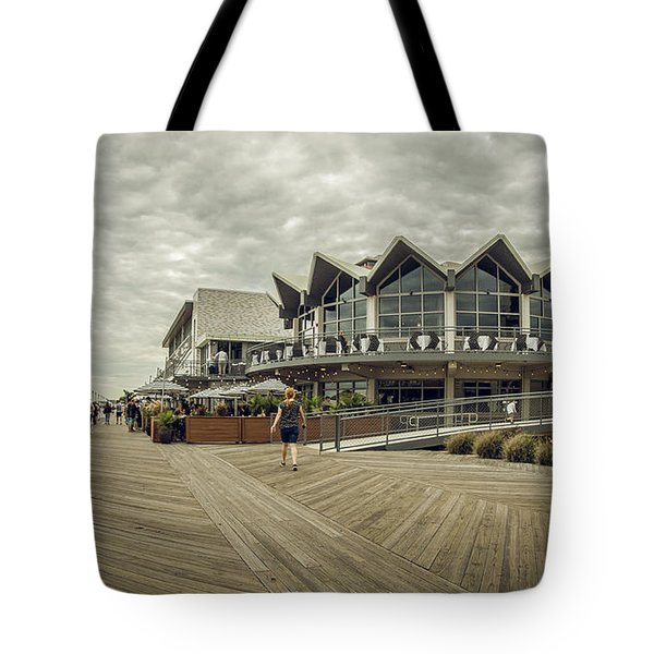 Tote Bag featuring the photograph Asbury Park Boardwalk Looking South by Steve Stanger