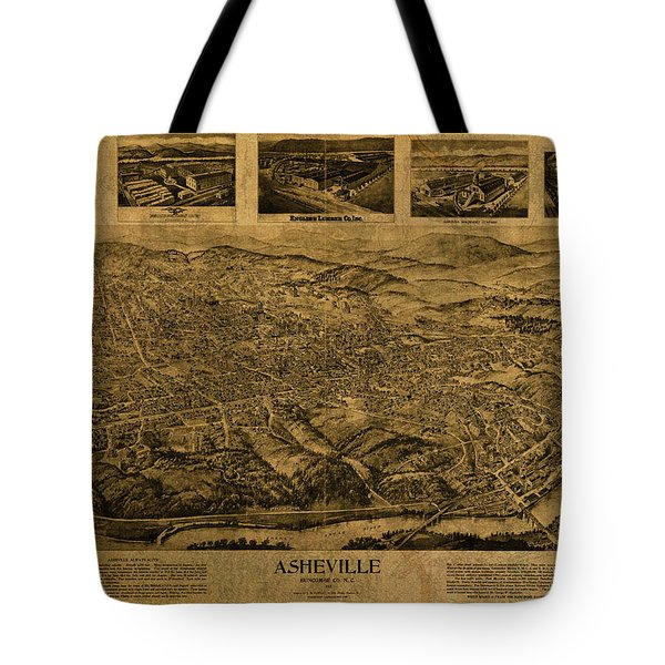 Asheville North Carolina Vintage City Street Map Birds Eye View 1912 Tote Bag