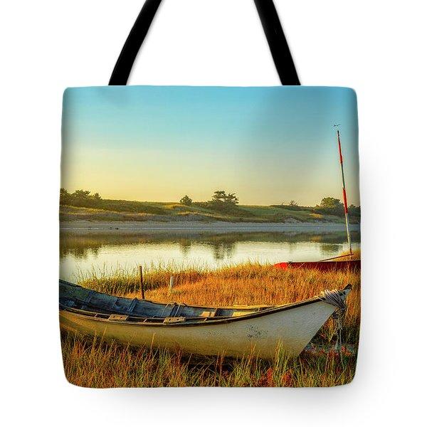 Boats In The Marsh Grass, Ogunquit River Tote Bag
