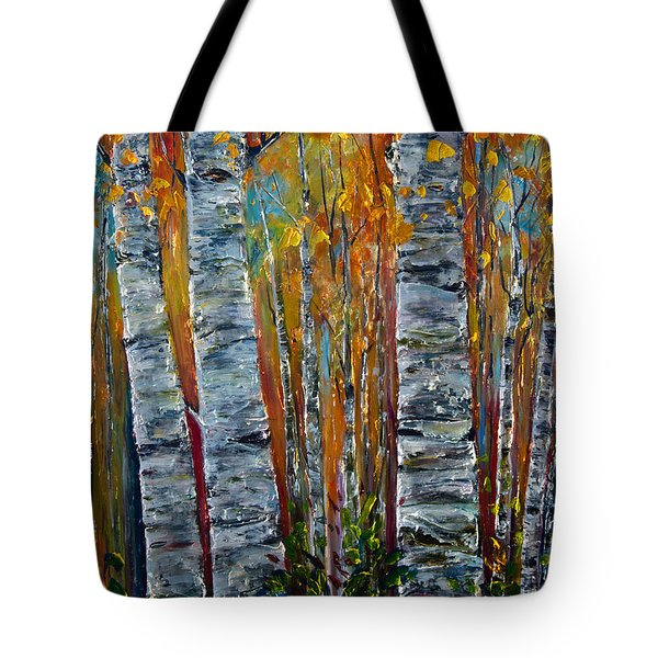 Tote Bag featuring the photograph Aspen Trees By Olena Art by OLena Art