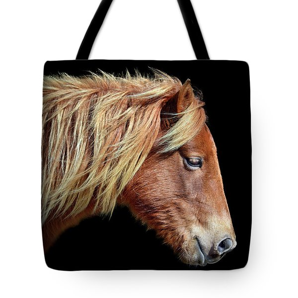 Assateague Pony Sarah's Sweet Tea Portrait On Black Tote Bag
