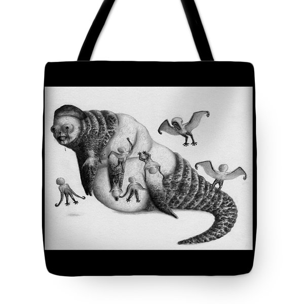 Tote Bag featuring the drawing Astrid The Nightmare Nurturer - Artwork by Ryan Nieves