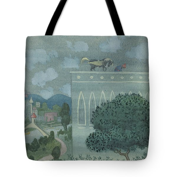 Tote Bag featuring the drawing At Midnight, The Horse Horse Lands On The Roof Of The Caliph's Castle by Ivar Arosenius