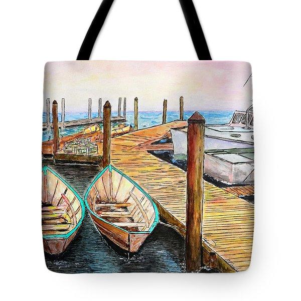 At The Dock In Gloucester Massachusetts Tote Bag