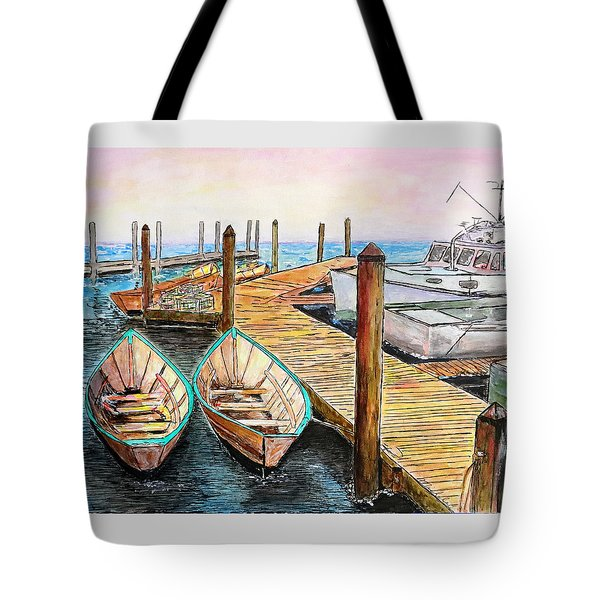 Tote Bag featuring the drawing At The Dock In Gloucester Massachusetts by Michele A Loftus