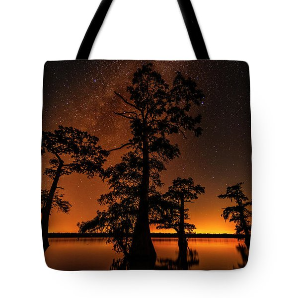 Tote Bag featuring the photograph Atchafalaya Basin On Fire by Andy Crawford