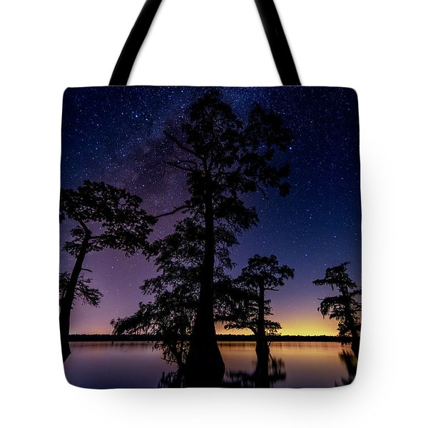Tote Bag featuring the photograph Atchafalaya Basin Under The Miky Way by Andy Crawford