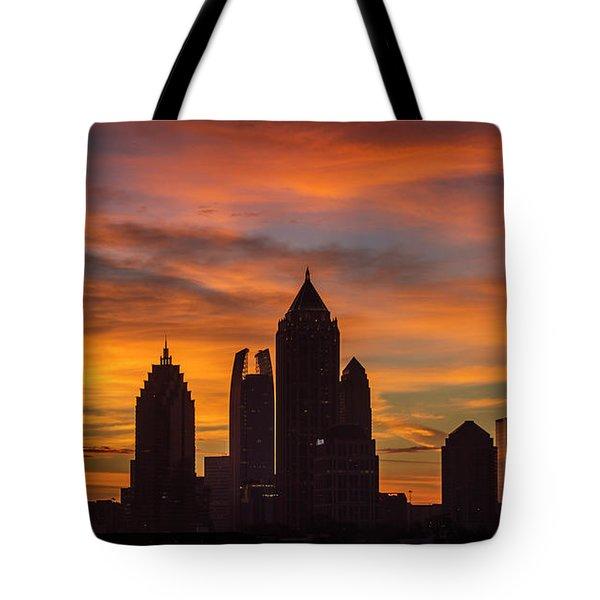 Atlanta Midtown Sunrise Silhouette Atlanta Georgia Cityscape Art Tote Bag